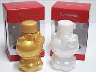 🍧Tupperware Hello Kitty Eco Water Bottle 425ml Non Flip Top (Screw Top) Pearl / Gold Color