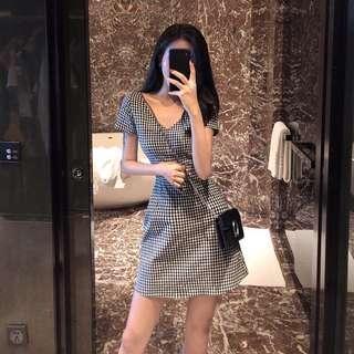 Black plaid checkered dress