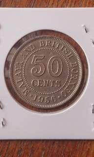 Rare Key Date Malaya 1956 50 Cents