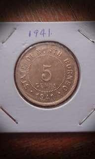Uncirculated North Borneo 1941 5 Cents