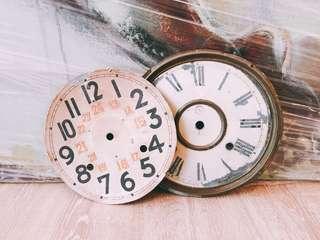 Set of 2 Vintage Clock Faces