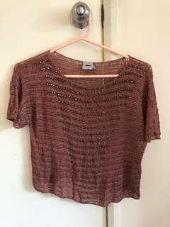 Metallic golden shawl top