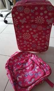 Pink Luggage and Backpack Set for Kids