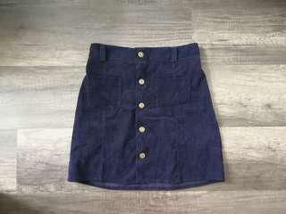 Navy Blue Velvet Button Up Skirt
