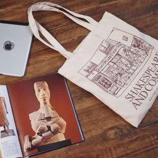 Shakespeare and Company Canvas Tote Bag, Brown Accent