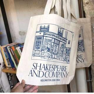 Shakespeare and Company Canvas Tote Bag, Blue Accent