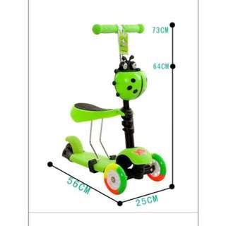 3 in 1 beetle scooter wheels with light