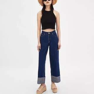 Dark Wash Cuffed Denim Jeans