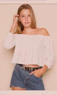 LF/ISO White Eyelet Theia Off Shoulder Top