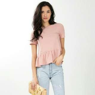 ninth collective gersemi babydoll ruffled hem top in pink
