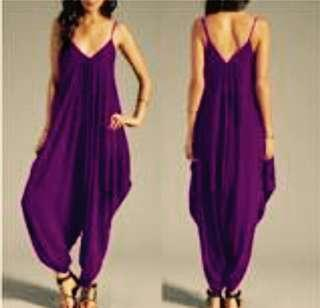 Brand New Long Loose Dark Purple Spaghetti Strap JumpSuit Size XXL