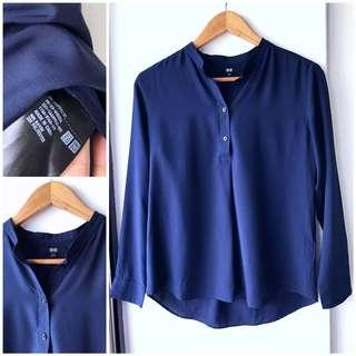 Uniqlo navy rayon blouse
