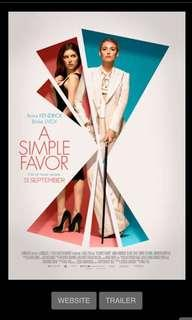 A Simple Favour movie tickets @ GV
