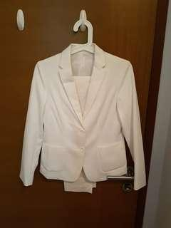 Uniqlo White Blazer & Pants