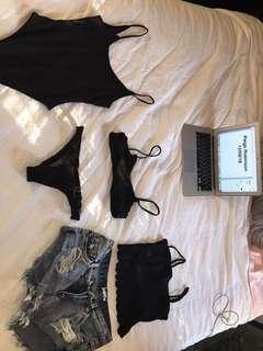 Kookai bodysuit, new bikini, junk food shorts, glassons crop