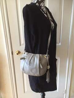 Vince Camuto Grey Leather Tassel Shoulder Cross-body Bag