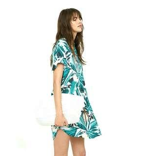 h&m x anna glover vneck shirtdress in tropical leaf print