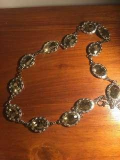 Silver Chain belt with rhinestone