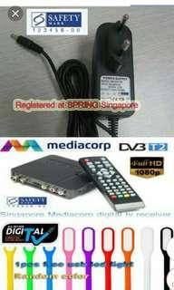 Digital TV Channels Setup Box / 1 Antenna included/ Power Adaptor Safety Mark / can record tv programs