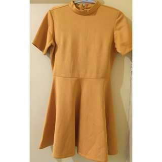 Maldita Mustard Mini Dress (Turtleneck)