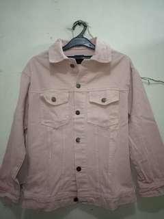 Jaket zara look a like oversized pink