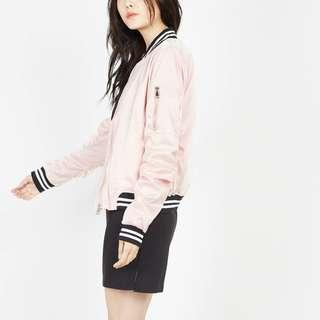 Styledasher CAX Satin Bomber Jacket in Pink