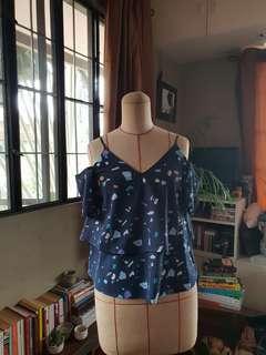 Blue Blouse with Cold Shoulder Detail
