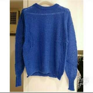 Sale! 100%new 藍色薄身針織冷衫毛衣 blue thin sweater