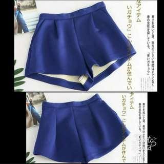 100%new 寶藍色太空棉修腰闊腳斯文短褲熱褲 royal blue puff shorts