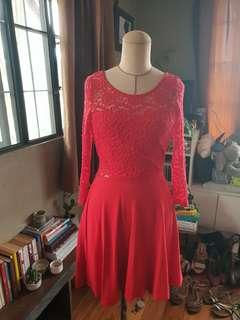 H&M Divided Red Lace Dress