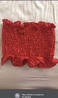 red smocked tube top