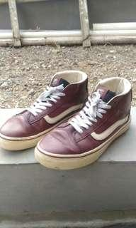 Vans Old School High Maroon Leather Size 42