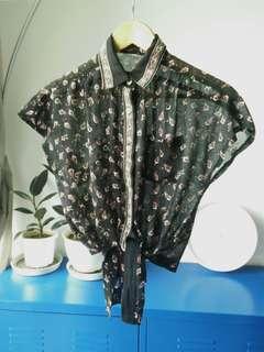 Vintage black chiffon batwing shirt