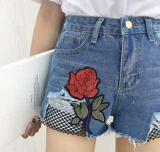 Highwaist Rose Embroidery Denim Shorts Fishnet