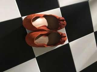 Orange Suede Charles and Keith Shoes