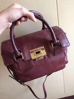 Michael Kors turnlock Maroon leather satchel bag