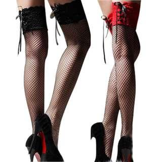 🚚 Floral Lace Trim Fishnet Stockings Hoisery