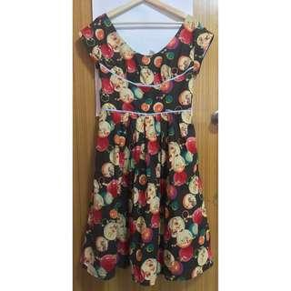 50s style vintage inspired retro dress with bambi print and full skirt