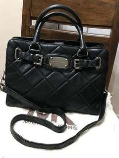 Authentic Michael Kors Quilted Leather Hamilton East/West Satchel Bag