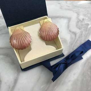 🚚 《桃園》美國 粉紅貝殼 耳針耳環