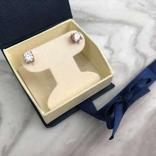 🚚 《桃園》美國 Genevive 14K玫瑰金鍍銀 俄羅斯鑽(CZ) 鑽石耳針耳環