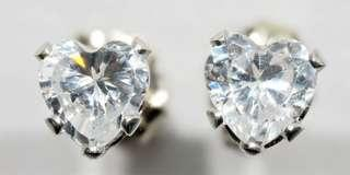 10Kt White Gold Heart Shaped Cubic Zirconia Earrings