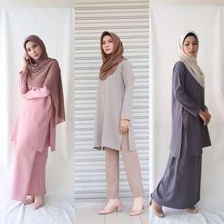 🚚 Sale TIO SLIT TUNIC + SARONG 2018 top skirt baju peplum tunik blouse muslimah labuh