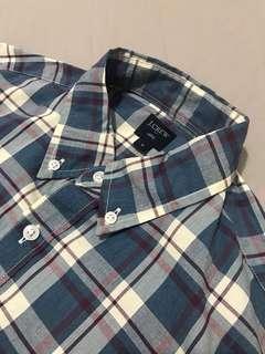 J. Crew Heathered Cotton Plaid Shirt (M)