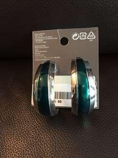 H&M silver green earrings