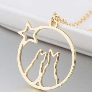 🚚 Minimalist Couple Cats Necklace (Gold)