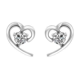 🚚 Minimalist Heart Shaped Stud Earrings with Crystals