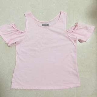 Sixty Eight pink tee top shoulder 粉紅色 露肩膊 上衣