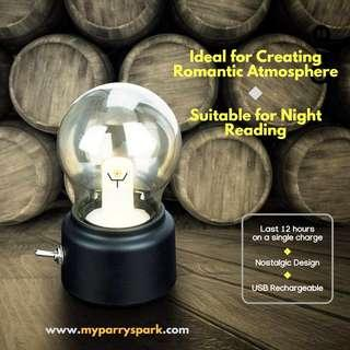 Classy Nostalgic 10W LED USB Rechargeable Globe Light Bulb Warm White Table Lamp (Black Base)