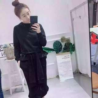 chic~韓國寬鬆上衣+半身裙套裝